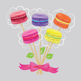 Bouquet of macaroon on sticks Vector illustration. Stock Photo