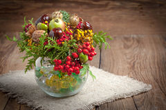 Bouquet made of autumn plants. Stock Photo