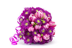 Bouquet made of tulips and chrysanthemum flowers Stock Photo