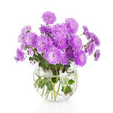 Bouquet of many beautiful chrysanthemum flowers in vase Stock Photo
