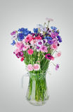 Bouquet of many beautiful multi-colored cornflowers flowers Royalty Free Stock Images
