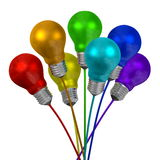 Bouquet of many-colored light bulbs on wires of different colors Royalty Free Stock Photos
