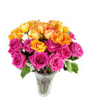 Bouquet of mixed red and yellow roses. Stock Image