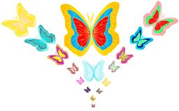 Bouquet of 17 motley, bright, colorful butterflies. Vector illustration Stock Photography