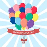 A bouquet of multi-colored balls with a red bow and ribbon with a congratulation, isolated on a sky background. Clouds and sun. Ha. Ppy Children`s Day. Cartoon royalty free illustration