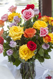 Bouquet of multi colored of retirement roses Royalty Free Stock Photography