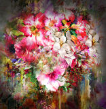 Bouquet multicolored flowers watercolor painting on full color background Royalty Free Stock Photos