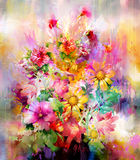 Bouquet of multicolored flowers watercolor painting style Royalty Free Stock Photo