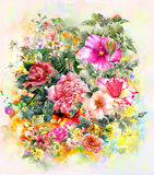 Bouquet of multicolored flowers watercolor painting style Royalty Free Stock Images