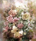 Bouquet of multicolored flowers watercolor painting style. Illustration Royalty Free Stock Images
