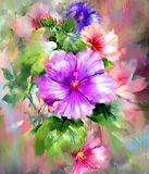 Bouquet of multicolored flowers watercolor painting style. Illustration Royalty Free Stock Photo