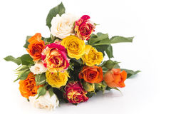 Bouquet of Multicolored Roses Isolated on White Stock Photography