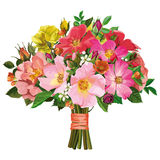 Bouquet of multicolored roses and wild flowers Royalty Free Stock Photos