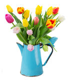 Bouquet of multicolored tulip flowers in blue stock photos