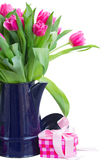 Bouquet of multicolored   tulip flowers in white Royalty Free Stock Photography