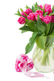 Bouquet of multicolored   tulip flowers in white pot Royalty Free Stock Photos