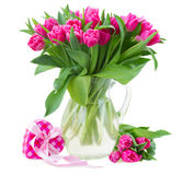 Bouquet of multicolored   tulip flowers in white pot Stock Image