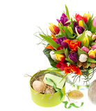 Bouquet of multicolored tulips, easter eggs Royalty Free Stock Image