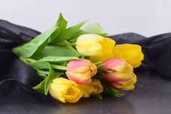 Bouquet of multicolored tulips on a grey cloth. Spring flowers. Romance Stock Images