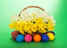 Bouquet of narcissuses and Easter eggs Royalty Free Stock Photos