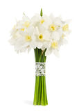 Bouquet of narcissuses. The magnificent beautiful bouquet of narcissuses on a white background stock images