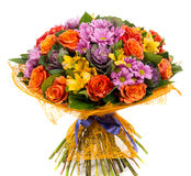 Bouquet of natural orange roses and colorful flowers Royalty Free Stock Photo