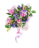 Bouquet of nerine, hyacinth, statice and other flowers. Delicate beautiful bouquet of nerine, hyacinth, statice and other flowers in pink packaging with tape Stock Image