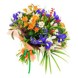 Bouquet of nerine, iris, alstroemeria, roses and other flowers. Delicate beautiful bouquet of nerine, iris, alstroemeria, roses and other flowers in orange Stock Photo