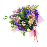 Bouquet of nerine, iris, alstroemeria, roses and other flowers. Delicate beautiful bouquet of nerine, iris, alstroemeria, roses and other flowers in pink Royalty Free Stock Photos
