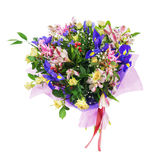 Bouquet of nerine, iris, alstroemeria, roses and other flowers. Delicate beautiful bouquet of nerine, iris, alstroemeria, roses and other flowers in pink Stock Photography