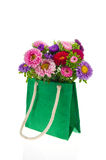 Bouquet New England Asters in bag Stock Photo