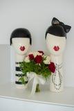 Bouquet nuptiale avec une statue Images stock