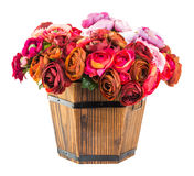 Bouquet od reses in wood bucket Royalty Free Stock Photography