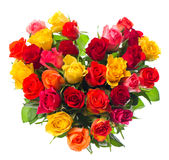 Bouquet Of Colorful Assorted Roses In Heart Shape