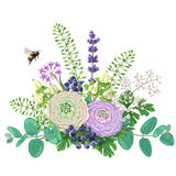 Bouquet Of Flowers And Flying Bumblebee Royalty Free Stock Images