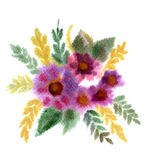 Bouquet Of Flowers Painted In Watercolor Stock Photo