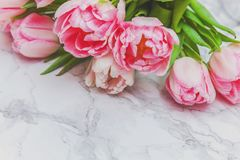 Free Bouquet Of Fresh Pink Tulips Flowers On Marble Background Stock Photography - 134916152