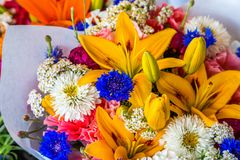 Free Bouquet Of Lilies And Mums Royalty Free Stock Photo - 153226915