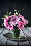 Bouquet Of Pink Flowers In Vase Vintage Decor Royalty Free Stock Photos