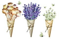 Free Bouquet Of Poppy Capsules, Lavender Flowers And Flock White Butterflies In Cone Of Paper. Isolated, Hand Drawn Watercolor Stock Image - 179601311