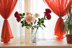 Bouquet Of Roses On Window Sill Stock Photography
