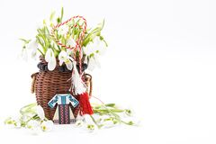 Free Bouquet Of Snow Drops In A Basket Tied With Red And White String On White Background And Decoration First Of March Celebration Mar Royalty Free Stock Photography - 171066527