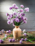 Bouquet of onion chives flowers in the vase. Stock Photos