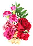 Bouquet of orange, pink and red flowers stock images