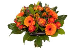Bouquet of orange and red flowers stock photography