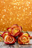Bouquet of orange and red roses Stock Photography