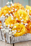 Bouquet of orange roses, copy space Royalty Free Stock Image