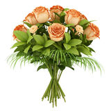 Bouquet of orange roses isolated on white Stock Photography