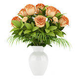Bouquet of orange roses in vase isolated on white Stock Images