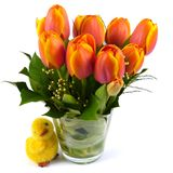 Bouquet of orange Tulip flowers in spring Stock Photo